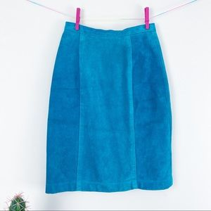 VTG 80s Turquoise Suede Paneled Pencil Skirt